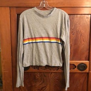 Spiritual Gangster gray L/S soft crop top sz xs